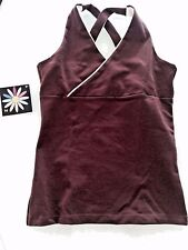 Margarita Cross Back Top Activewear Tank  NWT Yoga Supplex brown/ white SZ 2