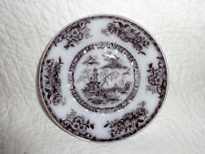 "Antique Ironstone ""Pelew"" Flowing Mulberry Plate, 6"" Diameter, 1800's"