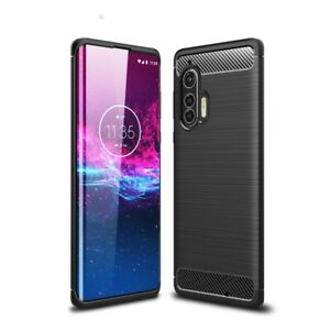 Motorola Edge+ (Plus) Handyhülle Silikon Case Cover Bumper Tasche Carbonfarben