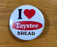 I LOVE TAYSTEE BREAD Heart Logo Vintage Advertising Badge Pinback Pin Button