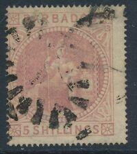 SG 64 Barbados 1873 5/- Dull rose Fine used CAT £300