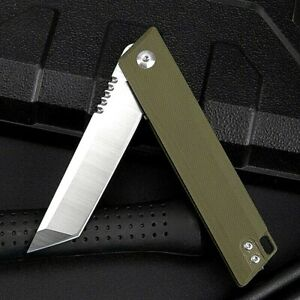 Tanto Folding Knife Pocket Hunting Survival Combat D2 Steel G10 Handle Flipper S