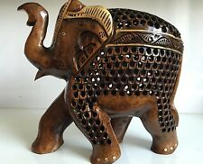 Elephant Statue Animal Figurine Miniature Baby Inside Carved Womb Baby Gift Home