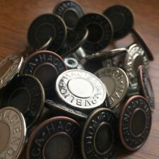 20MM (APPROX) NO SEW HAMMER ON DENIM JEAN BUTTONS X 10. SILVER, BRONZE OR COPPER
