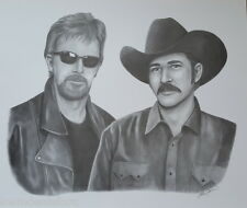 Kix Brooks & Ronnie Dunn Black & White Pencil Print Art Drawing Signed Picture