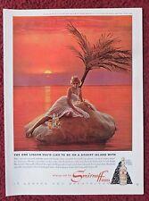 1964 Print Ad Smirnoff Vodka ~ Pretty Blonde Girl Marooned on a Desert Island