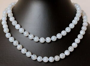 Natural Chalcedony Chain Ball Necklace 8mm80cm (Gemstone Jewellery Endless)
