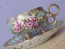 Vintage Japan pink orchid green iridescent footed porcelain tea cup teacup