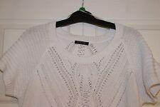 NWT Women's FYLO White Short Sleeve Knit Sweater XL