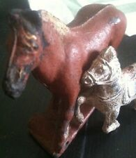 Two Antique Horse Toys Auburn Aub-Rubb Rubber Cast Iron Old RARE