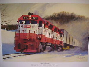 Railroad Art, Winfield,Frisco Fast Freight in Ozarks, 18X24, s/n, SD45's (3801)