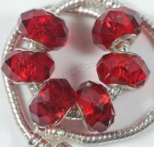 Multicolor 5pcs Glass Spacer Murano Big Hole Lampwork Beads Fit Charm Bracelet