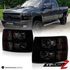 "2007-2013 Chevrolet Silverado 1500 2500HD 3500HD ""SINISTER BLACK"" Headlights Set"
