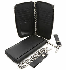 Bifold Black Genuine Leather Checkbook Holder Zip-around Wallet with a Chain