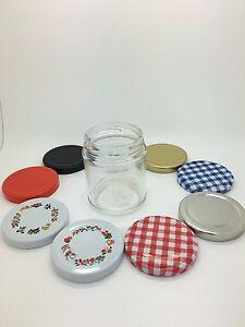 7oz(190ml)Round Glass Jam Jars - Preserves, Honey, Marmalade 63mm lids - 24 pack