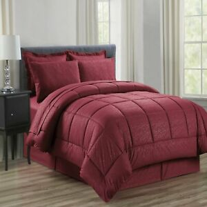 Vine Printed Microfiber 8 Piece Bed In A Bag Set BURGUNDY