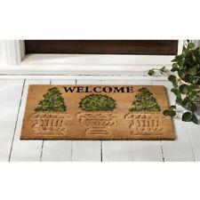 Mud Pie E1 Veranda Home Garden Woven Coir Welcome Topiary Doormat 18x30in