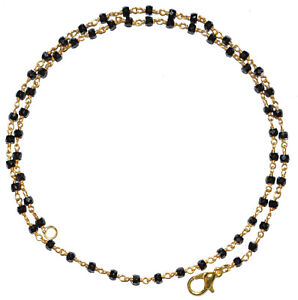 18 Inch Strand Black Zircon 3mm Gold Plated Wire Faceted Rosary Beads Neckalce 2