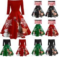 Christmas Women Off Shoulder Print Vintage Dress Xmas Party Swing Mini Dress