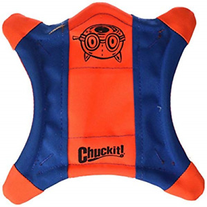 Chuckit! Flying Squirrel Spinning Dog Toy, Orange/Blue, Multicolor, Medium 10 in