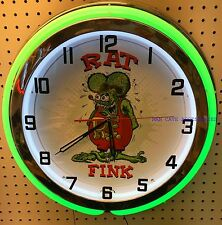 "18"" Nostalgic RAT FINK Sign Double Neon Clock"