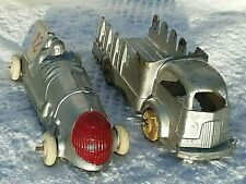 Vintage Hubley Aluminum Race Car and Die-cast Stake Truck Lot of 2