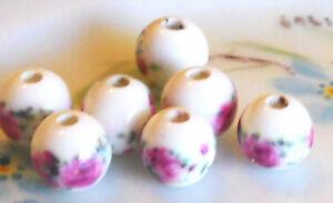 Vintage Porcelain Beads Rose Shabby Floral Glass Flower Flowers Pink 10mm #1043D