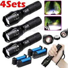 Tactical 350000LM T6 LED Flashlight Ultra Bright Zoomable 18650 Torch Light Lamp
