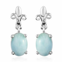 925 Sterling Silver Green Larimar Solitaire Earrings Jewelry for Women Ct 1.6