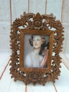 ORNATE CARVED WOOD FREESTANDING PHOTO PICTURE FRAME