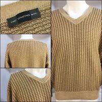 Hart Schaffner Marx Sweater Medium 100% Camel V Neck Made In Italy YGI 2366