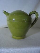 Antique Green Pottery Majolica Glaze Pitcher Rope Twist Handle 19th Century