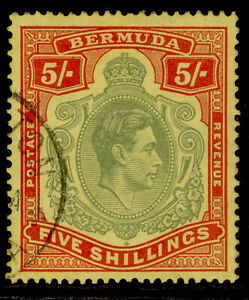 BERMUDA GVI SG118a, 5s pale green & red/yellow, FINE USED. Cat £75. CHALKY