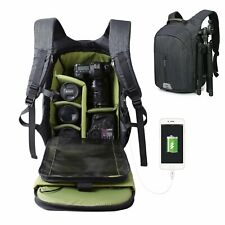 Large Camera Backpack Bag w/ Waterproof Cover for Canon Nikon Removeable Insert