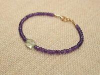 Ebay Natural Amethyst n Moonstone Faceted Gemstone Beaded Bracelet Silver Clasp