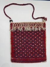 "13 1/2"" x 15"" Middle Eastern Maroon Wool Camel Bag Crossbody Sack"