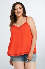 NWT TORRID Plus Size Top 4X Chiffon Cami Red Layered Embroidered Babydoll (MMM12