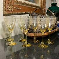 "RARE 7 Heisey Empress Sahara Yellow 8 5/8"" Etched Tall Water Goblets Elegant"