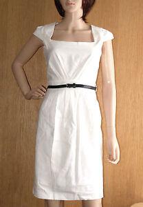 Brand New Ladies OFF WHITE Linen Shift Dress With Belt Work wear SIZES 8-16