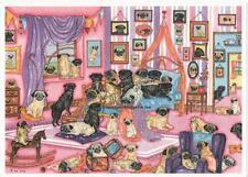 55 Pugs Bedroom Watercolour/ink Painting  by Bridgette Lee pug dog