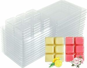 TiaoBug 20 Packs Plastic Wax Melt Clamshells Molds Empty Square 6 Cavity Wax Melt Cube Tray for Wickless Wax Melt Candle Making Clear One Size