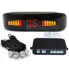 Car LED 4 Parking Sensor Auto Reverse Backup Radar Sound Alert +Backlight Silver