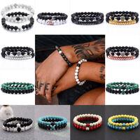 2Pcs Natural Gemstone Bead Lava Rock Stone Bracelet Lion/Crown Head Bead Jewelry