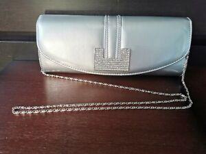 Silver box clutch bag Wedding Prom Occasion