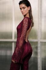 New MOSSMAN Devil's Advocate Merlot Lace Long Sleeve Open Back Jumpsuit AU6