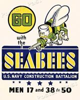 1943 Go with the Seabees Vintage Style Navy WW2 Poster - 16x20
