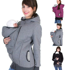 e5d3497090b Women Maternity Striped Baby Pouch Carrier Hoodie Kangaroo Zipper Pregnancy  Coat