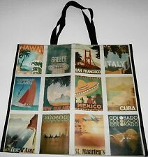 """Reusable Tote Bag PATCHWORK OF VACATION DESTINATIONS 19.5 """" x 18"""" x 8"""""""