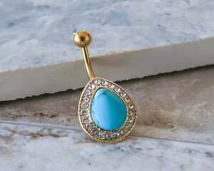 Turquoise & Diamond 3.80Ct Navel Barbell Button Belly Ring 18K Yellow Gold Over