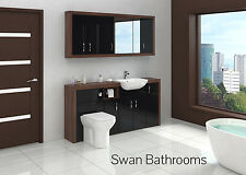 TOBACCO WALNUT / BLACK GLOSS BATHROOM FITTED FURNITURE WITH WALL UNITS 1800MM